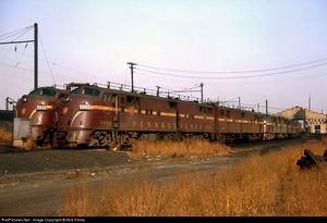 EMD E7(A), Pennsylvania Railroad , New York and Long Branch engine terminal, South Amboy, New Jersey, USA November, 1964.